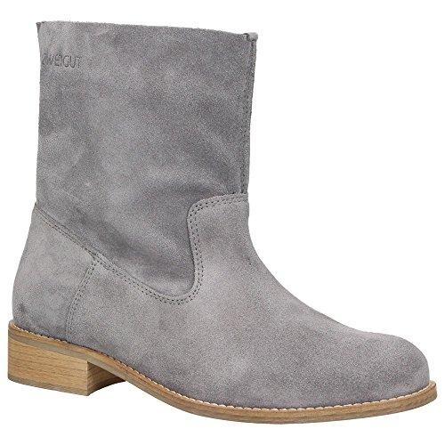 Zweigut® -Hamburg- smuck #210 Leder Stiefelette Damen Herbst mit Komfort MemoryFoam-Innensohle Wildleder Frühling Schuhe, Schuhgröße:40, Farbe:grau