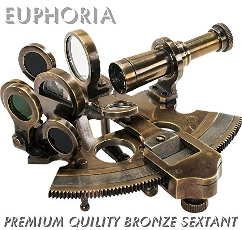 EUPHORIA NAUTISCHER BRONZEFARBENER SEXTANT AUS MASSIVEM MESSING, ASTROLAB, NAVIGATIONSHILFE