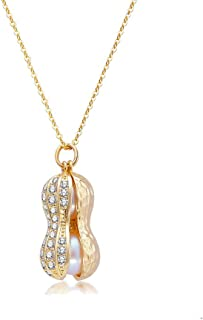 Personality Pearl Rhinestone Peanut Pendant Necklace For Women Girls Valentine's Day Gifts