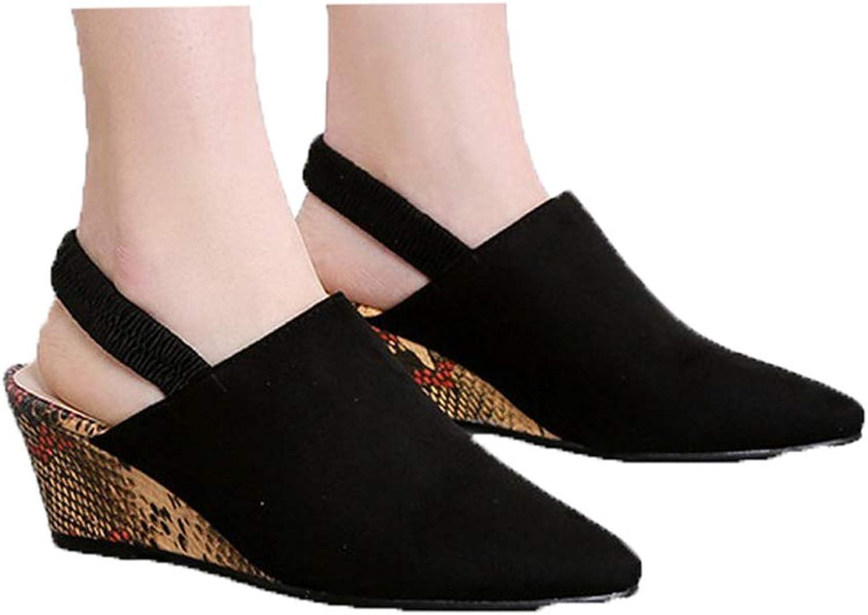 WTKRSM Women's Summer Wedge Sandals Workplace Sandals Elastic Belt shoes