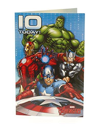 Carlton 480726–0mit Hulk/Thor/Iron Man und Captain America Marvel Avengers 10. Geburtstag Karte