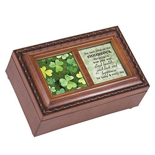 Cottage Garden Shamrock Luck Happiness Woodgrain Rope Trim Petite Music Box Plays Irish Lullaby