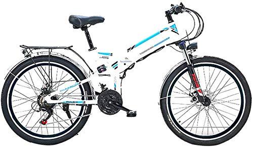 Alta velocidad 26 '' bicicleta plegable eléctrica de montaña, bicicleta eléctrica con 36V / 10Ah de iones de litio, 300W Motor premium Full Suspension Y 21 cambios de velocidad ( Color : White )