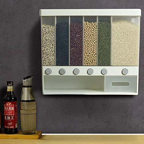 Dispensador de cereales para cocina, 6 compartimentos, montado en la pared, para cereales, harina, granos de Mungo, arroz, fruta