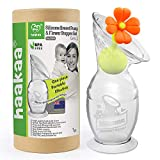 Haakaa Breast Pump Manual Breast Pump Milk Saver Milk Pump with Suction Base and Flower Stopper 100% Food Grade Silicone BPA Free (5oz/150ml) (Orange)