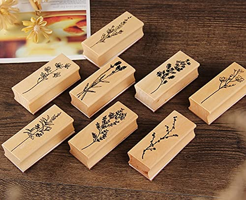 Pimoys 8 pcs Wood Mounted Rubber Stamps,Plant & Flower Decorative Wood Rubber Stamp for DIY Craft, Diary and Craft Scrapbooking