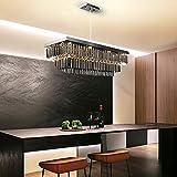 MZXUN Lámpara de araña negra moderna para comedor rectángulo de lujo rectángulo humo gris cristal lámparas de cocina isla de cocina LED ligeros LED (Emitting Color : Warm light 3000K)