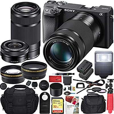 Sony a6400 4K Mirrorless Camera ILCE-6400L/B (Black) with 16-50mm f/3.5-5.6 and 55-210mm F4.5-6.3 2 Lens Kit and 0.43x Wide Angle + 2.2X Telephoto + Deco Gear Extra Battery Remote & Flash Bundle from Sony