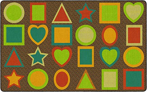 """Flagship Carpets All Kinds of Shapes Muted (Seats 24) Children's Classroom Seating Rug, 7'6""""x12', Rectangle"""