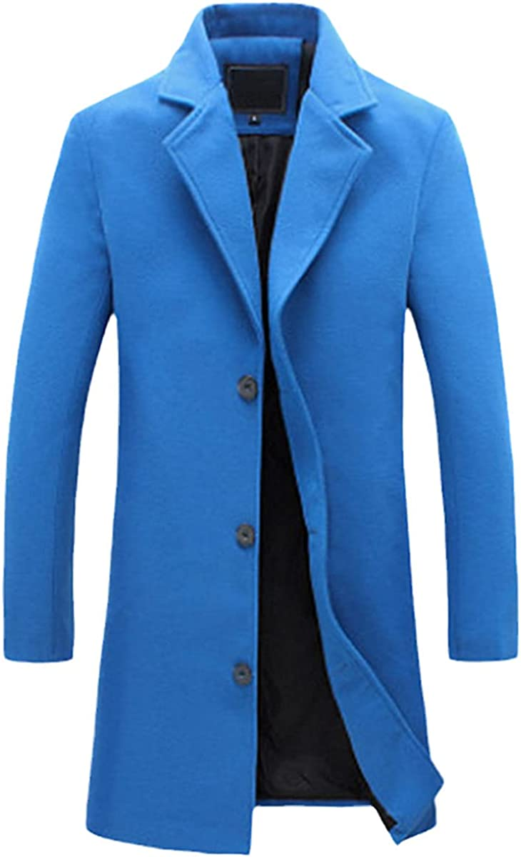 Winter Cashmere Men's Coat Lapel Long-Sleeved Cardigan Button Solid Color Slim Fashion Casual Coat