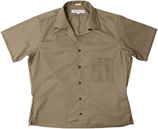 INDIVIDUALIZED SHIRTS オープンカラー ツイル半袖シャツ Camp Collar Shirts Athletic Fit (KHAKI, S)