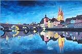 Poster 90 x 60 cm: Regensburg bei Dunkelheit von M.
