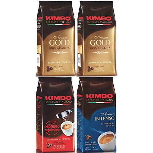 Kimbo ganze Kaffeebohnen Set - (4 x 250g Beutel) - Gold 100% Arabica (x2), Espresso Napoletano (x1), Aroma Intenso (x1)