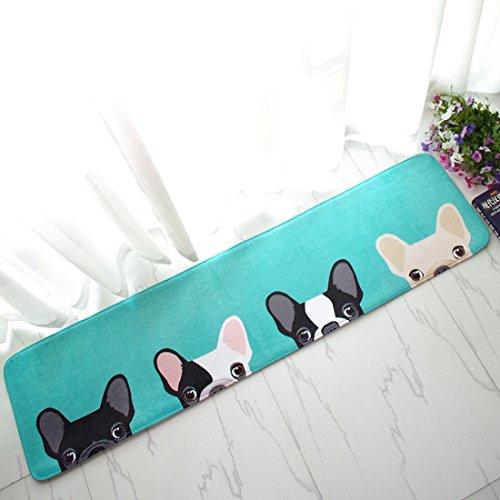 (Enerhu)キッチンマット 洗える 室内 おしゃれ 160 犬柄 かわいい ふわふわ クッション 玄関 マット 屋外 キッチン 40*160cm ラグマット 北欧 ホットカーペット対応 折り畳み ロング 北欧風 滑り止め 台所用 ベッドルーム 吸水 カーペット 新築祝