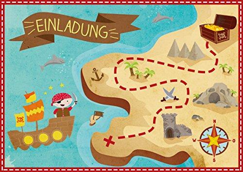 Oblique-Unique® 6 Einladungskarten zum Kindergeburtstag Pirat // Geburtstagseinladungen Jungen Mädchen Kinder Einladungen Schatzkarte Schatzsuche Piratenparty Geburtstag Karten Set