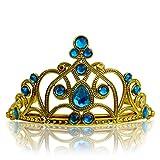 Katara 1682 - Diadema de Princesa Accesorio de Disfraz Corona de Cuentos de Hadas - Dorada con Cristales, Azul Claro