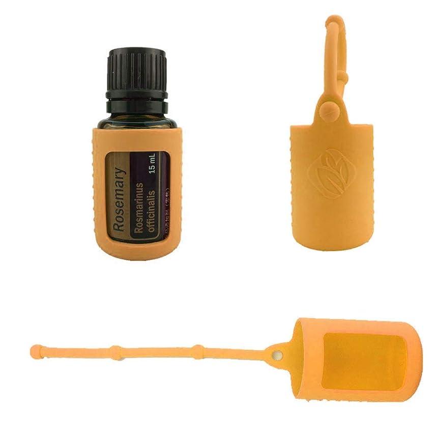 予報件名シリンダー6パック熱望オイルボトルシリコンローラーボトルホルダースリーブエッセンシャルオイルボトル保護カバーケースハングロープ - オレンジ - 6-pcs 15ml