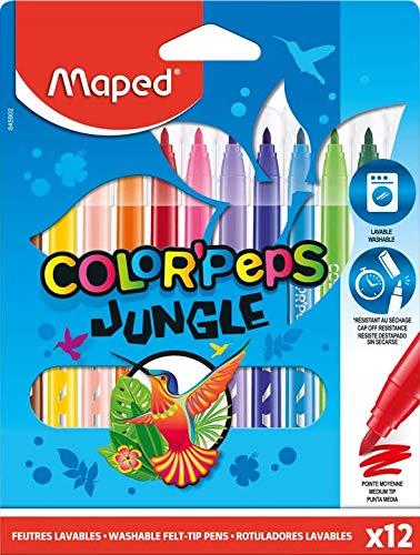 Gekaarte kleur Peps Jungle kleuren vilt tip pennen (Pak van 12)