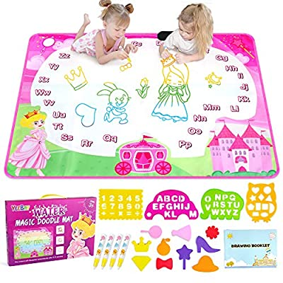 YEEBAY Water Doodle Mat, Princess Water Coloring Mats, Kids Painting Writing Doodle Board Toy, Gifts for Age 2,3,4,5 Year Old Kids, Toddlers, Girls