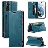 EYZUTAK LederHülle für Samsung Galaxy S21 Hülle 5G, Magnetverschluss PU Leder Flip Hülle mit Kartenfächern RFID Schutz Brieftasche Standfuntion Klapphülle Vintage Ledertasche -Blau