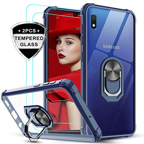LeYi für Samsung Galaxy A10/M10 Hülle mit Panzerglas Schutzfolie(2 Stück), Ringhalter Schutzhülle Crystal Clear Acryl Cover Air Cushion Bumper Handy Hüllen für Hülle Samsung Galaxy A10 Handyhülle Blau