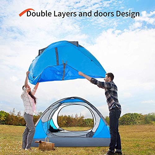 BISINNA 2 Person Camping Tent Lightweight Backpacking Tent Waterproof Windproof Two Doors Easy Setup Double Layer Outdoor Tent for Camping Beach Hunting Hiking Mountaineering Travel (Renewed)