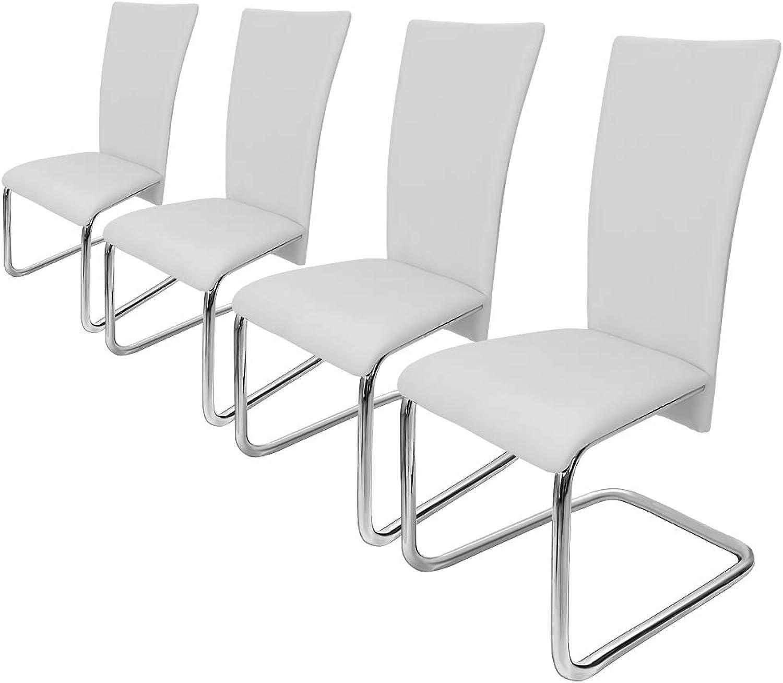 Deuba 4er Set Freischwinger Esszimmerstuhl Wei- Schwingstühle Küchenstühle Esszimmer Küchenstuhl Esszimmerstühle Stuhlgruppe