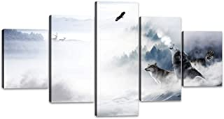 Yatsen Bridge 5 Panels Animal Wall Art Three Wolfs Howling on The Snow Mount Picture Prints on Canvas Giclee Artwork Stretched and Framed Ready to Hang for Home and Office Decor - 60''W x 32''H