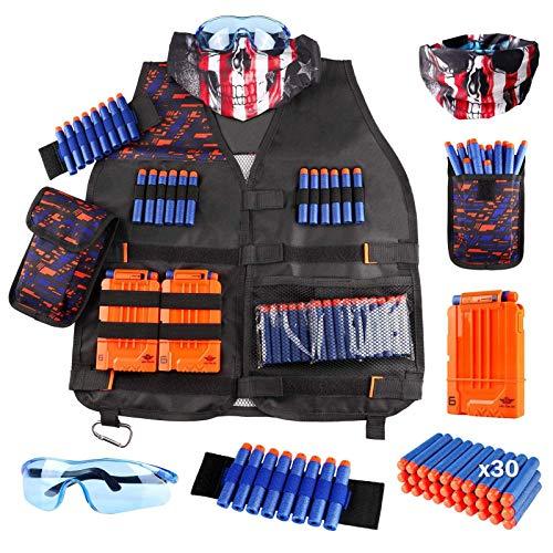 Taktische Weste Jacke Set Nerfe N-STRI-ke-Elite Set,Tactical Jacket Kit Für Nerf Toy Gun N-STRI-ke-Elite-Serie Mit Nachfüllkugeln, Schutzbrille, Dart-Tasche Für Nerf Gun Game