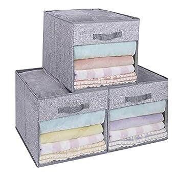 DIMJ Cube Storage Bins 3 Packs 13 x 13 x 13 Clear Window Storage Bin Organizers for Closet Shelves Home Storage Cubes Organizer with Handles