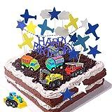 Daypicker Voiture Décoration de gâteau Garçon, Joyeux Anniversaire gâteau Topper, décorations de gâteau de Voiture Avion Nuages, idéal pour Anniversaire Enfants Mariage fête de fête de Mariage Adulte