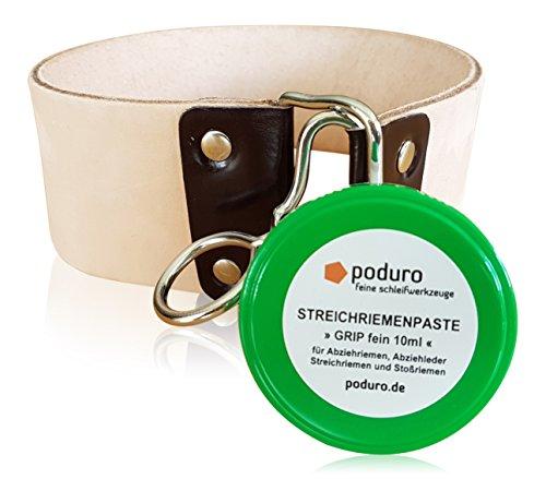 PODURO Abziehleder/Hängeriemen Set Big Belt « XXL Streichriemen extra breit & extra lang & Streichriemenpaste