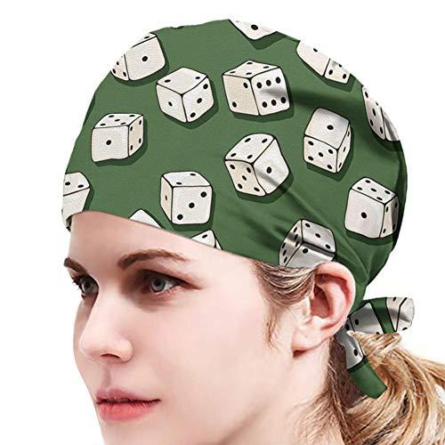 Grüner Hintergrund Weißer Samen,Bedruckte Turban Hut,Unisex Verstellbare Füllig...