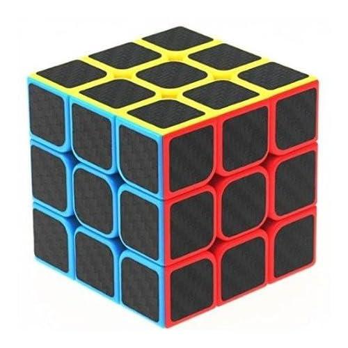 Emob High Speed Carbon Fiber Sticker 3x3 Colors Magic Rubik Cube Puzzle Toy with Adjustable Speed (5.5cm) (Muticolor)
