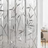 rabbitgoo Bamboo Window Film for Glass Window Decorative Films Frosted Privacy Window Cove...