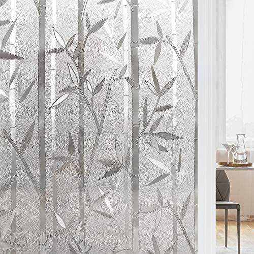 rabbitgoo 3D Vinilo Cristal para Ventanas Translúcida Autoadhesiva Vinilo Decorativa Bambu Patron Pegatina con Electricida Estática de Calor Control y Anti UV para Oficina Casa Privacidad 60x200CM