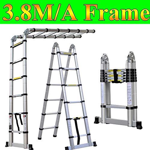 Escalera portátil telescópica de aluminio, plegable, ligera, 12 peldaños, para bricolaje, 3,8 m, 1,9 m + 1,9 m, escalera plegable
