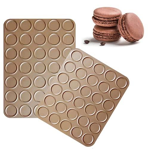 YAGUBLKJ Macaron Backmatte, 30/35 Antihaft Backblech, Benutzt für Makronen Plätzchen Gebäck, DIY Kuchen, Muffin Backgeschirr Dekorationswerkzeuge (2 Stücke)