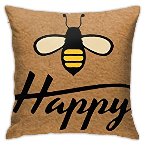 jhgfd7523 Throw Pillow Cover Bee Happy Decorative Pillow Case Home Decor Square 18x18 Inches Pillowcase