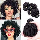 "Brazilian Funmi Hair 3 Bundles Spiral Curl Human Hair Short Curly Weave 8A Unprocessed Brazilian Funmi Extensions Human Hair 100g/pc Full Head Natural Color(10"" 12"" 14"")"
