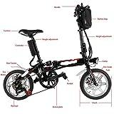 aceshin Mini bicicletta elettrica pieghevole da 14 pollici con batteria Lithium-Ion