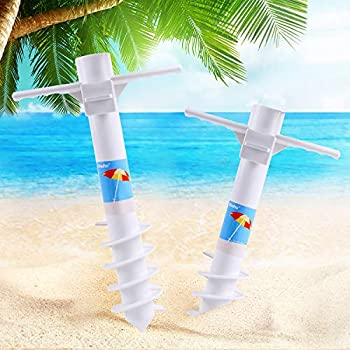 Ohuhu Beach Umbrella Sand Anchor Stand Holder with 5-Tier Screw One Size Fits All Safe for Strong Wind 2 Pack