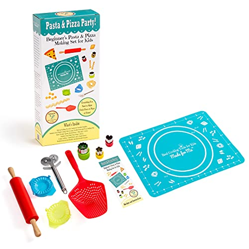 Pasta & Pizza Party! - SALE! Beginner's Pasta & Pizza Making/Cooking Gift Set for Children w/Online Virtual Class Tutorials! from makers of Pancake Party Art Kits & Beginner's Kids Chef Knife!
