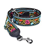 CLOUDMUSIC Banjo Strap Guitar Strap For Handbag Purse Jacquard Woven With Leather Ends And Metal Clips(Blue Pink Flower)