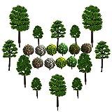 Modelo de Árbol,CHENKEE 40 Pzs Verde Natural Diorama Árboles Mezclados Plástico Árboles de Tren...