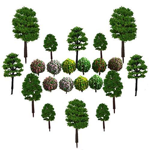 Modelo de Árbol, CHENKEE 40 Pzs Verde Natural Diorama Árboles Mezclados Plástico Árboles de Tren para DIY Paisaje Ferrocarril Arquitectura Modelo de Mesa de Arena Accesorio de Juguet Escalan 1: 100 CM
