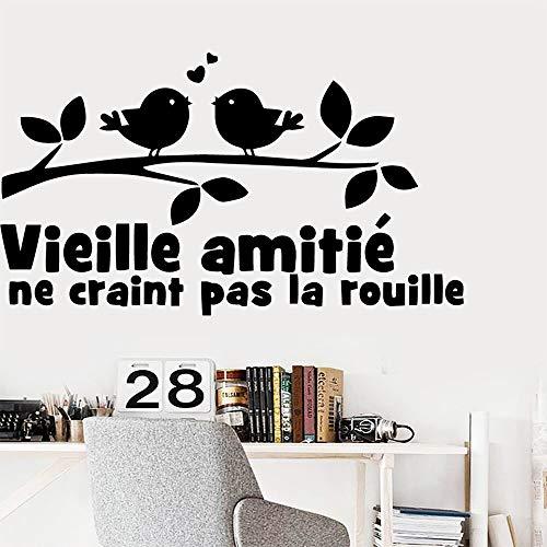Blrpbc Pegatinas de Pared Adhesivos Pared Decoración de Papel Tapiz de Vinilo con Frase de patrón francés de Dibujos Animados para Sala de Estar Dormitorio de Vinilo extraíble 43x75cm