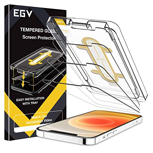 EGV 3 Pack Screen Protector Compatible with iPhone 12 Mini 5G 5.4-inch, 9H HD Clear Tempered Glass, Case Friendly, Alignment Frame Easy Installation, Bubble Free