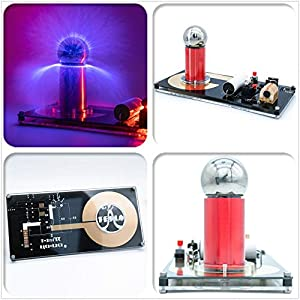 Sunnytech Spark Gap Tesla Coil Artificial Lightning Generator Touchable High Efficiency Science Project SGTC Tesla Coil Magic Prop WH12