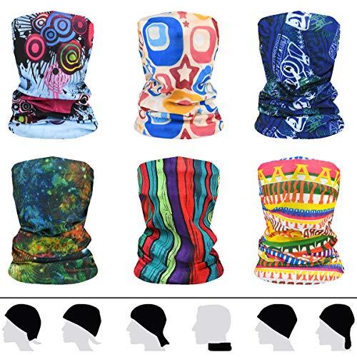 flintronic Multifunktionstuch Gesichtsmaske 6 Stück Elastische Schlauchtuch Mundschutz Maske Herren/Damen Halstuch Kopfbedeckung Sonnenschutz Maske Balaclava Loop-Schal für Yoga Laufen Wandern